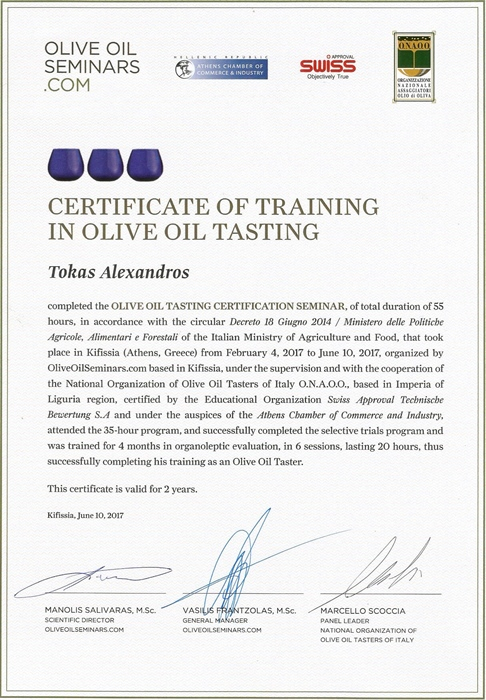 Certificate of training in olive oil tasting