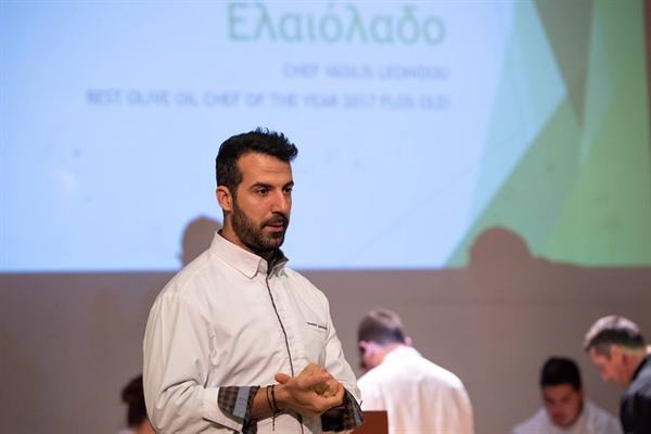 Award-winning Chef Vasilis K. Leonidou at an Olive Oil Taste Testing seminar