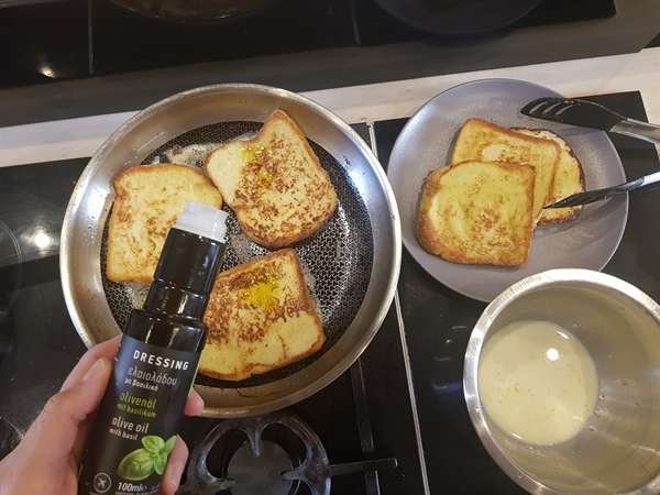French toast with Kyklopas Basil dressing!
